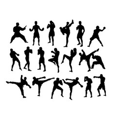 boxing and competition silhouettes vector image