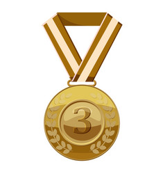 bronze medal with number three icon cartoon style vector image