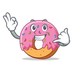 call me donut mascot cartoon style vector image