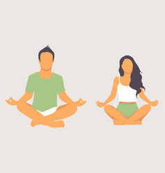 calm couple meditating sitting on lotus pose at vector image