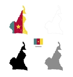 Cameroon country black silhouette and with flag on vector