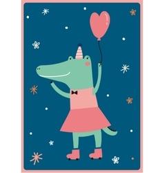 card with funny Crocodile girl vector image