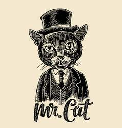 cat gentleman holding a watch and dressed hat vector image