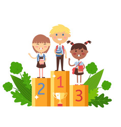 Children winning in school competition vector