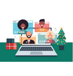christmas online greeting people meeting online vector image