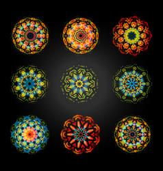 circular pattern set caleidoscope mandala vector image