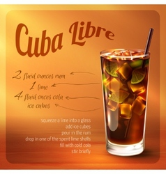 Cuba libre cocktail recipe vector