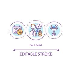 Debt relief concept icon vector