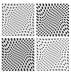 Distorted spirally rotating patterns with squares vector
