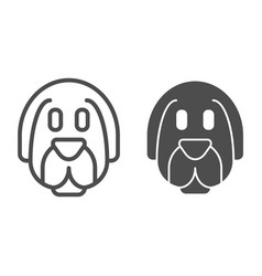 Dog face line and glyph icon animal vector