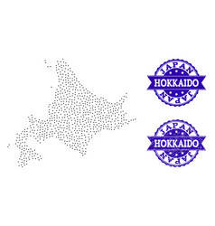 Dotted map of japanese hokkaido and distress stamp vector