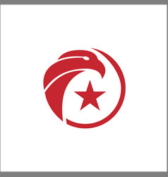 eagle circle with star logo template on white vector image