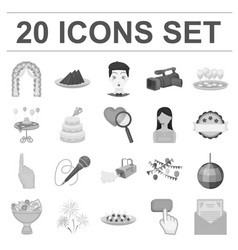 event organisation monochrome icons in set vector image