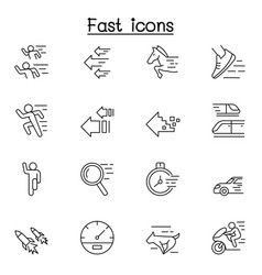 fast speed related line icons contains vector image