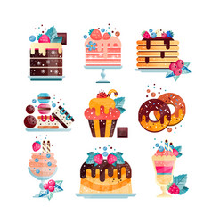 flat set of various tasty desserts with vector image