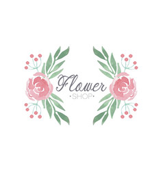 flower shop green and pink colorful logo label or vector image