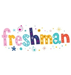 freshman text decorative lettering type design vector image