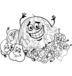 fruits group cartoon for coloring book vector image