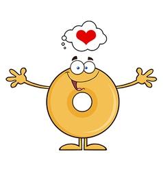 Funny Inlove Donut Cartoon vector