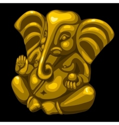 Golden statue of an elephant one object closeup vector image