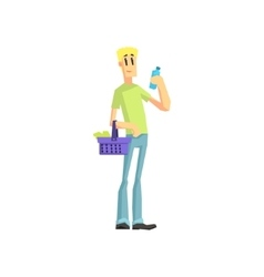 Guy Buying Household Chemistry vector image