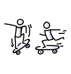 Hand drawn two stick figure riders on skateboard vector