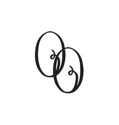 handwritten monogram oo icon vector image