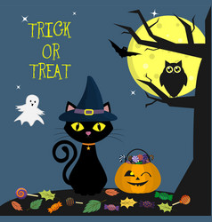 happy halloween the helluinsky cat in the witch s vector image