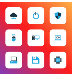 hardware icons colored set with online cloud cpu vector image