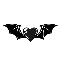 Heart with bat wings tattoo style object vector