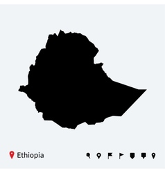high detailed map ethiopia with navigation pins vector image