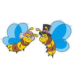 honey bees wedding couple vector image