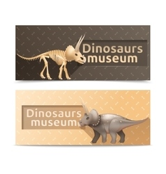Horizontal dinosaurs museum banners vector
