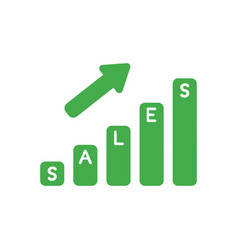 Icon concept of sales bar graph moving up vector