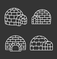 Igloo icon set outline style vector