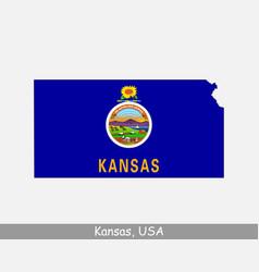 kansas usa map flag vector image