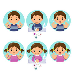 kids washing and cleaning hands with bubbles soap vector image