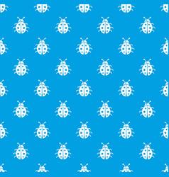 ladybug pattern seamless blue vector image