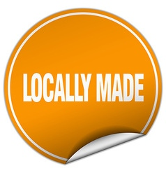 Locally made round orange sticker isolated on vector