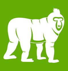 Mandrill monkey icon green vector