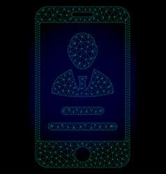 Mobile user info polygonal frame mesh vector