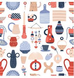 Modern pottery flat seamless pattern vector