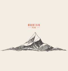 Mountain logo style hand drawn vector