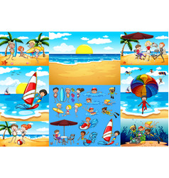 ocean scenes with tourists having fun vector image
