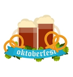 Oktoberfest celebration background with two vector image