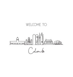 one continuous line drawing colombo city skyline vector image