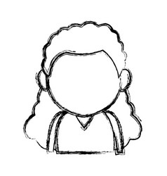 Portrait little girl young person cartoon vector