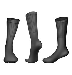 realistic football socks black template vector image