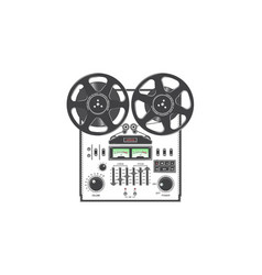 Retro reel to reel tape recorder deck detailed vector