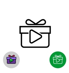 Rewarded video icon with gift box and play button vector